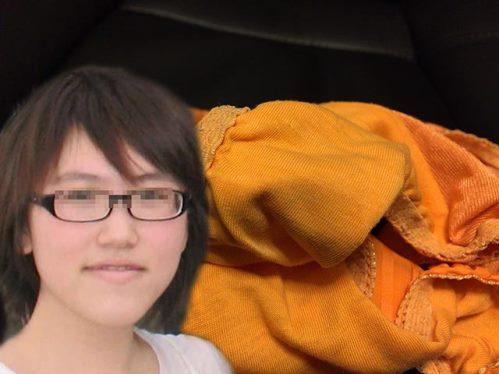 メガネ地味子の顔出し着用パンティ
