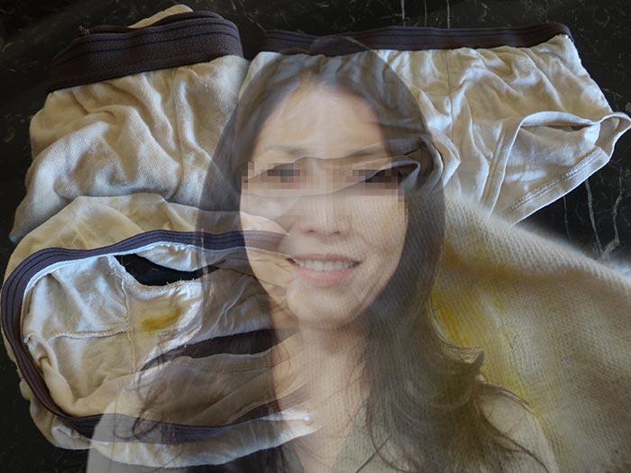 女上司のヨレヨレ下着とマンカス汚れ画像